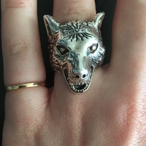 Gucci angry forest wolf silver ring Brand New